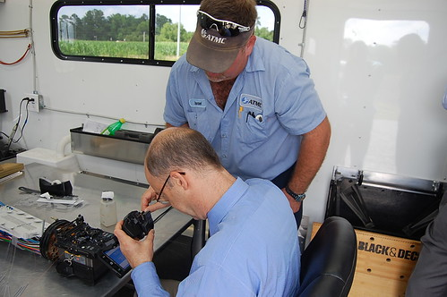 Rural Development Utilities Administrator Jonathan Adelstein receives lesson in  fiber splicing. Photo credit: USDA employee Delane Johnson.