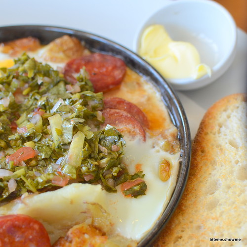 Copo - Baked Eggs with Fried Potato, Chorizo, Chimichurri and Toast
