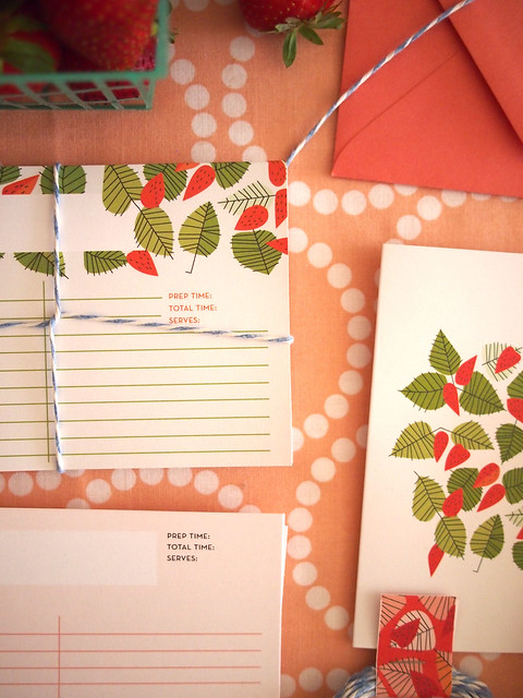 recipe cards and berries