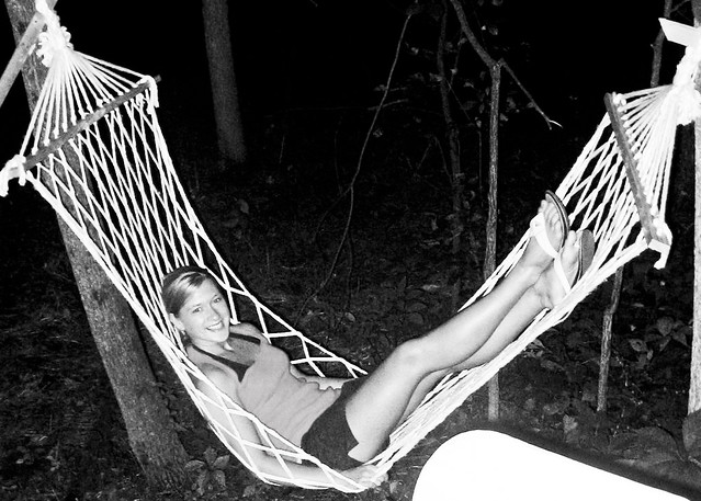 hammock camping b&w