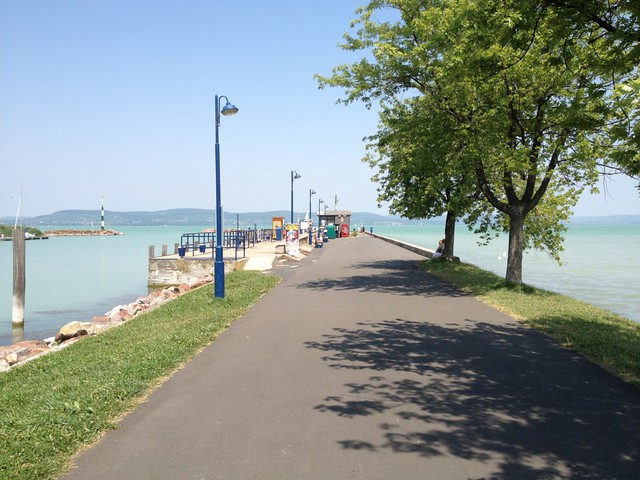 Walking along Lake Balaton, Hungary