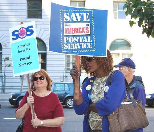 Occupy the Post Office demonstration in San Francisco draws 200. The Postal Service is threatened with massive lay-offs and downsizing. by Pan-African News Wire File Photos