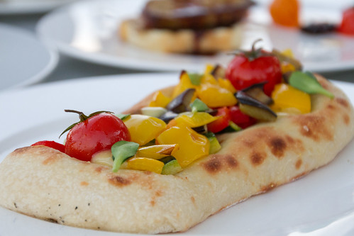 Focaccia with roasted vegetables @ Mamilla rooftop café, Jerusalem, Israel