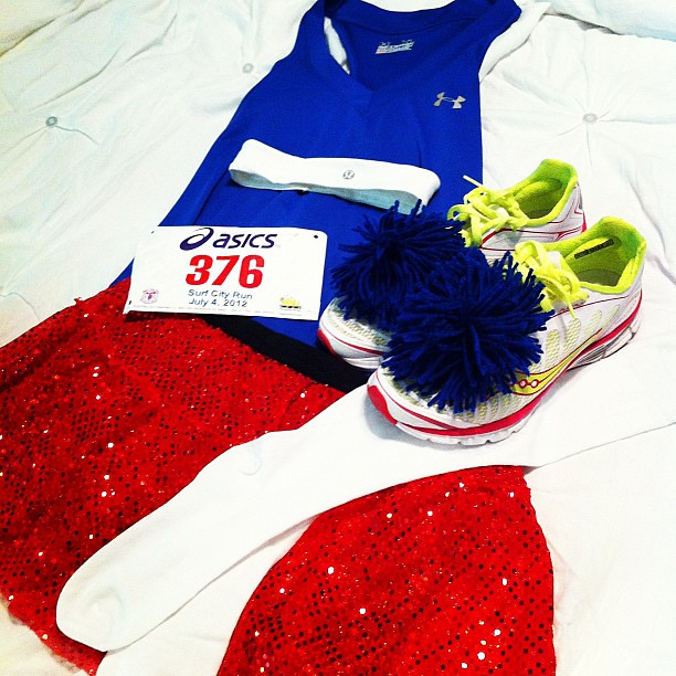You won't be able to miss me while I run the Surf City 5K tomorrow. Red @runteamsparkle skirt, Blue @UnderArmour tank, Black @lululemon Run: Shorty Shorts, White knee highs, @Saucony Kinvara 3's with blue pom poms, and a white @lululemon headband. Hopeful