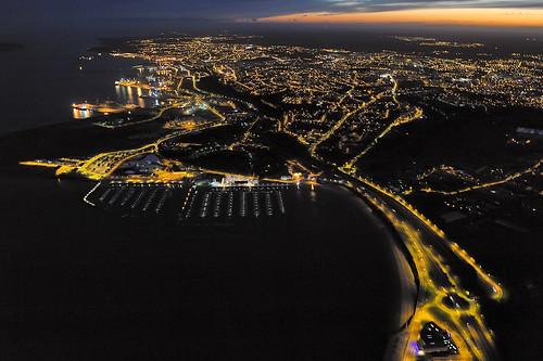 night port harbor brittany bretagne aerial breizh brest 29 nuit finistère rade moulinblanc jeangabriel d700 photographieaérienne brestitude