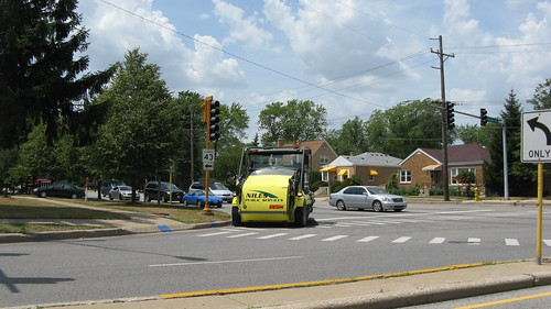 Niles Public Services Company Elgin street  sweeper vehicle at work.  Niles Illinois. July 2012. by Eddie from Chicago
