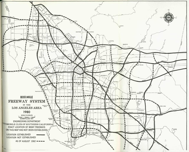 800 Mile Freeway System In The Los Angeles Area 1962
