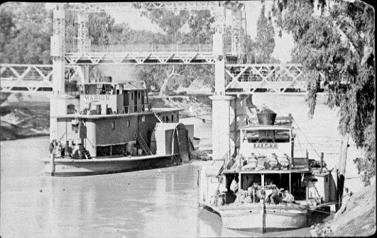 Paddle steamers MARION (left) and PILOT (right) at Wilcannia, NSW