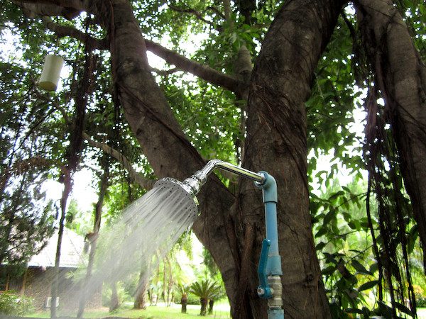 Shower under tree