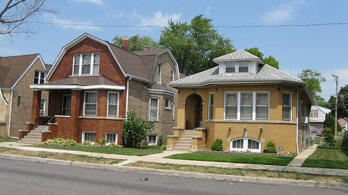 1920's era brick bungalow houses on West Addison Street in Chicago's Portage Park neighborhood. Chicago Illinois USA. July 2012. by Eddie from Chicago