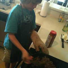 Stirring the pot #kidsinthekitchen