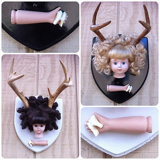 Two Deer Dolly Taxidermy Mounts Available In My Shop - Made With Vintage Porcelain Dolls, Deer Antlers & Teeth