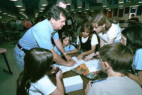 John Browne with Cerro Grande evacuees