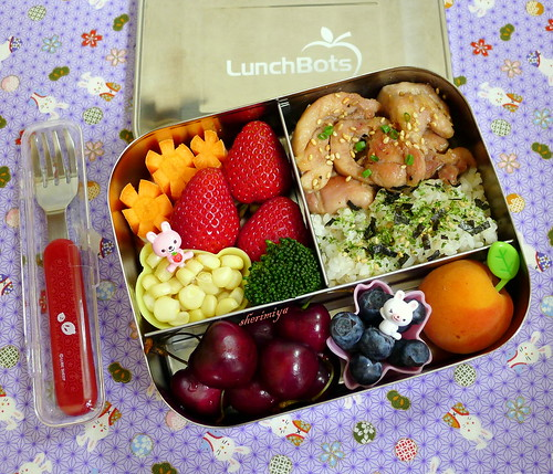 Chicken and Rice Lunchbots Trio Bento by sherimiya ♥