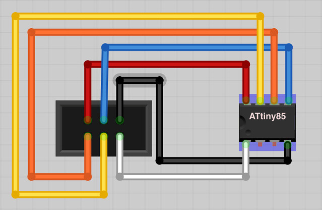 Physical Diagram of 6 pin header to ATTiny 45/85