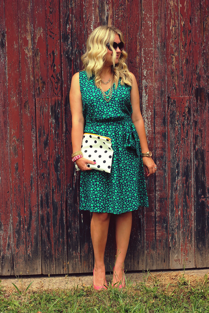 Heart Print Dress Paired With Polka Dots