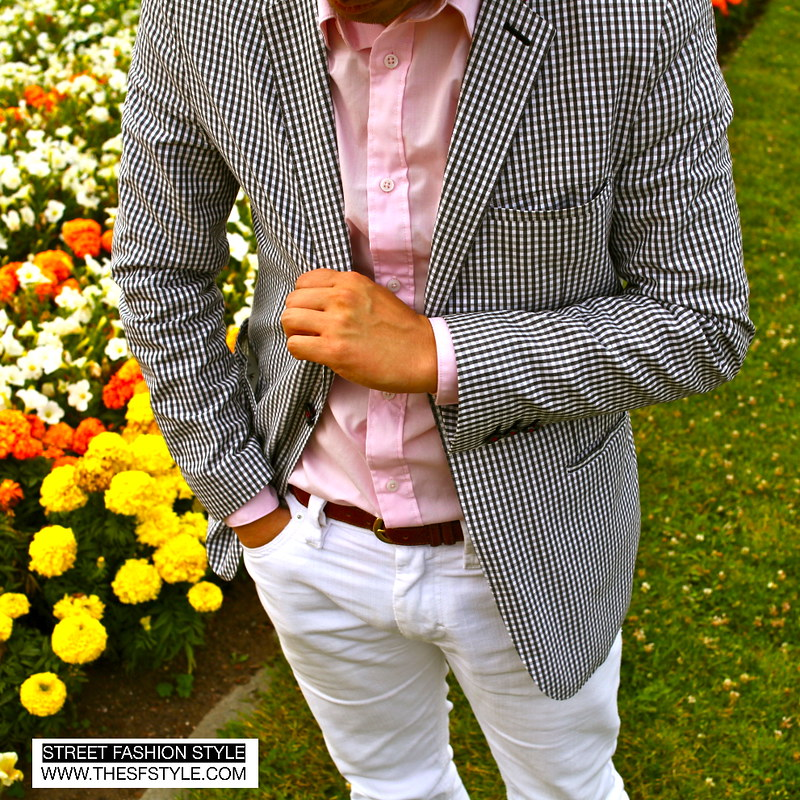 jt tran, street fashion style, sfs, san francisco, gingham, ben sherman, white jeans, pink shirt, men's fashion, mens coats, summer fashion,