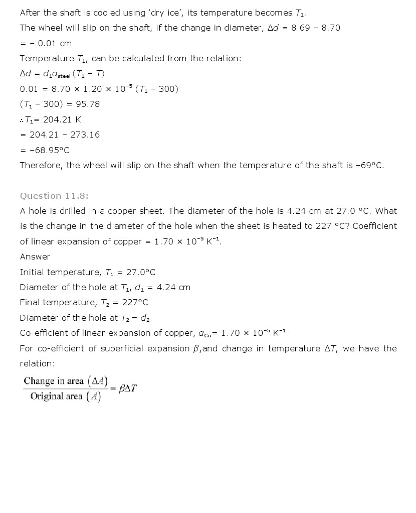 Ncert Solutions For Class 11 Physics Chapter 11 Thermal Properties