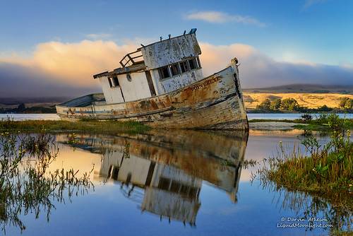 sanfrancisco california old sunset reflection golden bay boat fishing gate san francisco decay shipwreck area bayarea pointreyes recreation sir inverness tomales francisdrake darvin atkeson darv liquidmoonlightcom lynneal