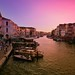 Pinky sunset colors along the Grand Canal of Venezia