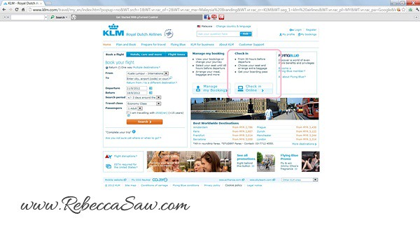 KLM site screenshot - check in 30 hours before flight