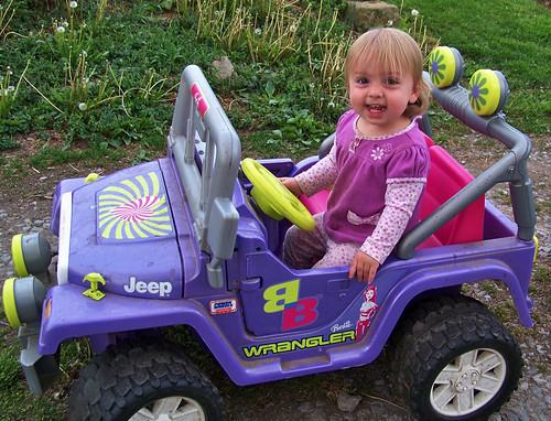 Phoebe in her jeep