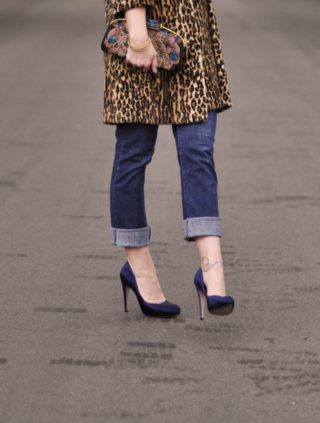 ferragamo shoes- vintage leopard jacket-cuffed jeans