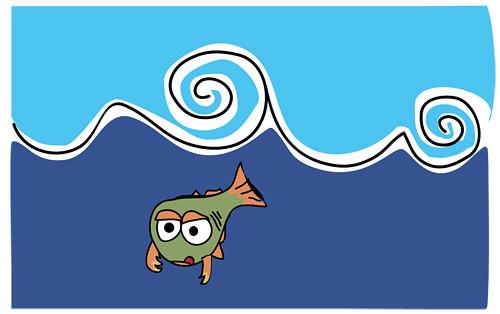Ilustración (un pez bajo el agua)