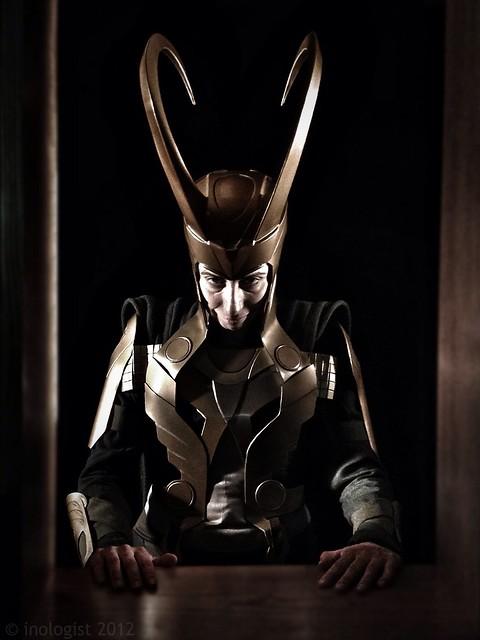 Portrait of Loki looking menacing and mean
