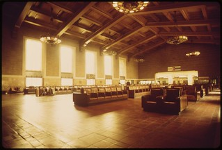 Interior of the Los Angeles Union Passenger Terminal, built for the 1932 Summer Olympics held in that California city, May 1974