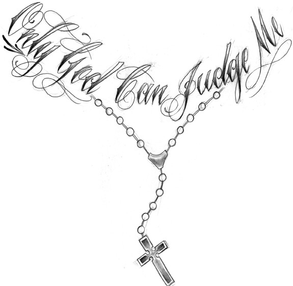 Only God Can Judge Me Tattoo Stencil