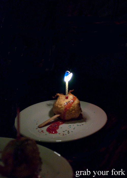 Deep-fried birthday cake at The Dip, Good God Small Club, Sydney