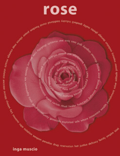 the cover of Rose, which is red and features a drawing of a pink rose