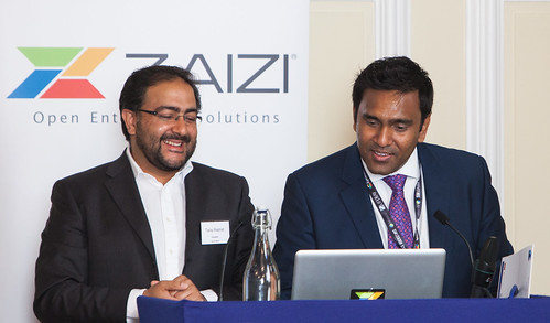 Tariq Rashid, Lead Architect at the Home Office with Aingaran Pillai, Zaizi CEO, talking about Open Source in Government at the Open Gov Summit 2012 hosted by Zaizi