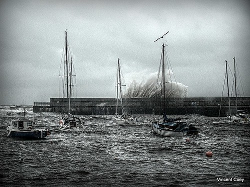 Bray harbour being battered by waves