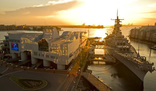 sunset wisconsin virginia dusk norfolk battleship uss nauticus