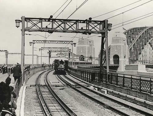 First Passenger Train to Cross Bridge