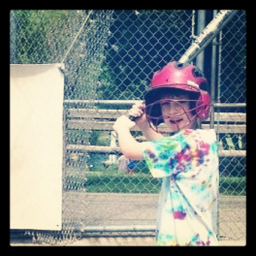 My boy getting a little batting cage time in today with his dad.