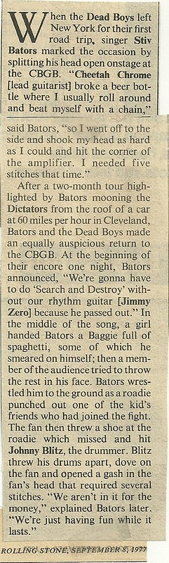 09-08-77 Rolling Stone Magazine (RE: Dead Boys/CBGB)