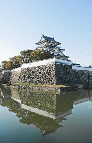 Reflejo del castillo de Kishiwada