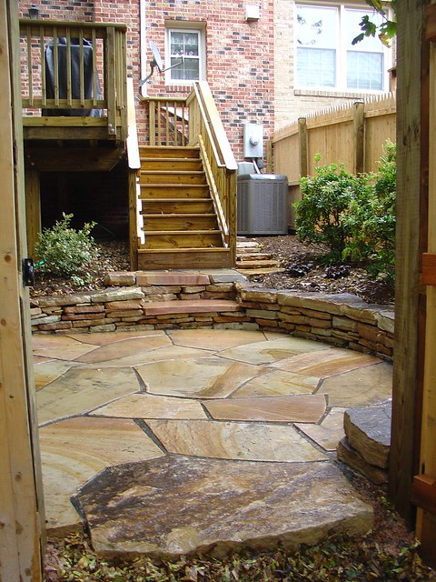 Fieldstone Rock Patios : Fieldstone patio with stone wall flickr photo sharing