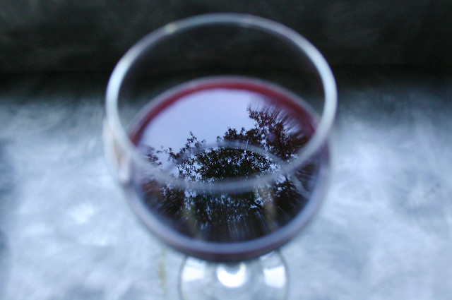 red wine reflection