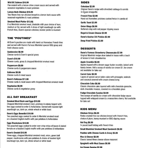 Dunn's Famous take out menu 4 of 4