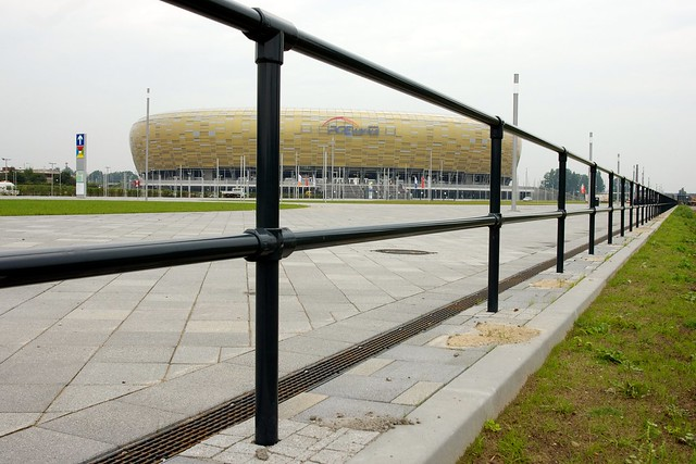 Kee Klamp Railing at Polish Soccer Stadium