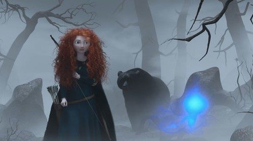 Merida walking through the woods with a bear following her