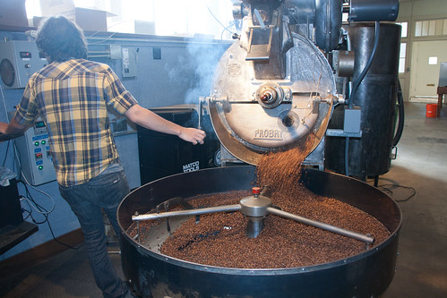 Releasing the beans from the roaster