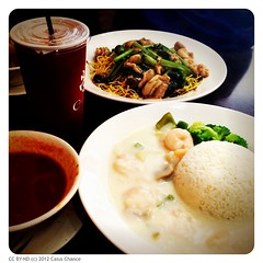 White sauce prawn rice, tomato soup & iced HK white tea. They predicted my preference of extra white sauce! Yummmmm~~~