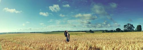 blue summer england sky nature girl field sunshine yellow clouds canon hair eos 350d corn wheat vast