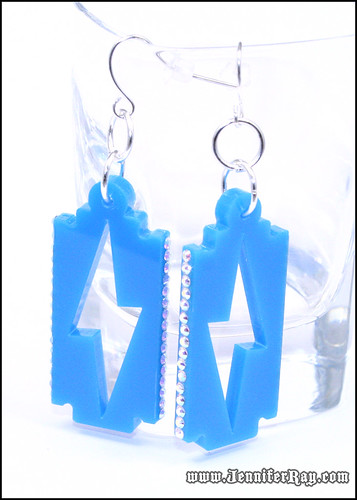 Bling Blue Lighting Bolt Razor Blade Lasercut Acrylic Earrings by JenniferRay.com