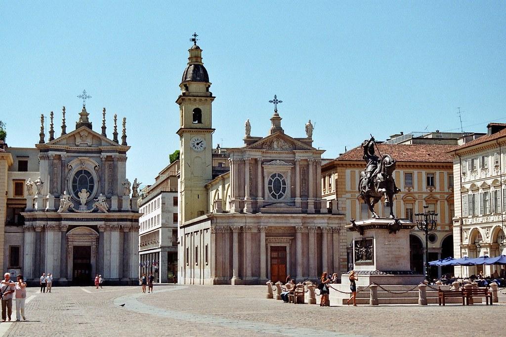 Eglises Santa Cristina et San Carlo, Piazza San Carlo, Turin, Piémont, Italie. Photo de Bernard Blanc